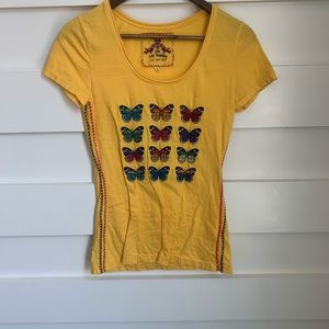 (NWOT) Johnny Was // Yellow Butterfly Tee